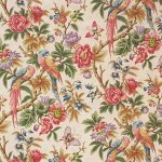 Lee Jofa PEONIES AND PAR CREAM Fabric Birds and butterflies