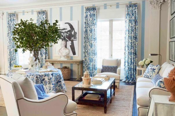 Blue and White interior Decor by Timothy Corrigan Traditional