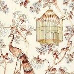 Schumacher Oiseaux et Fleurs Cinnabar Wallpaper