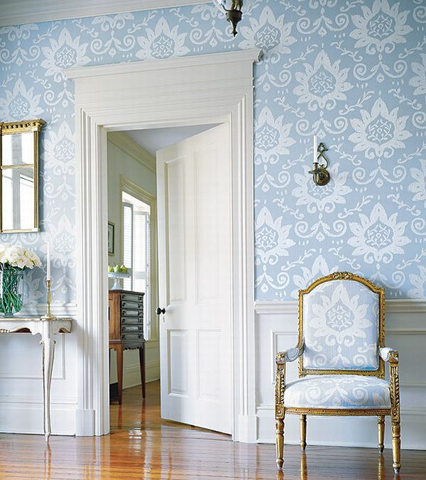 Beautiful-Blue-Floral-Wallpaper-with-Same-Color-Scheme-Chair