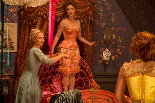 CINDERELLA orange ball gown floral decor prints step sister