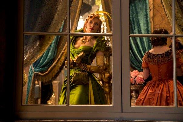 CINDERELLA step mother green dress window decor on set orange dress ball gown
