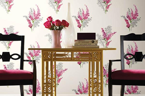 Floral Pink Wallpaper Interior Design Decor