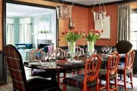 orange grasscloth wallpaper dining room interior design decor