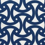 Schumacher Santorini Print Marine Fabric