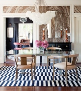 Marble Wallpaper in Dining Room by Apparatus Studio