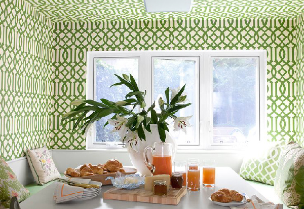 Breakfast nook with Kelly Wearstler Imperial Trellis