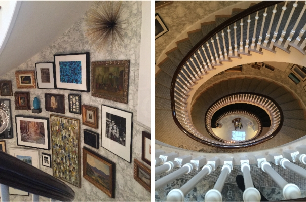 Kips Bay Decorator Show House 2015 - Art gallery stairwell featuring Mulberry Home Torridon wallpaper by Philip Mitchell