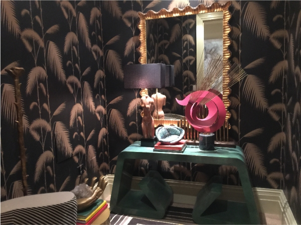 Kips Bay Decorator Show House 2015 - Cole and Son black Palm Leaves wallpaper - Michael Herold