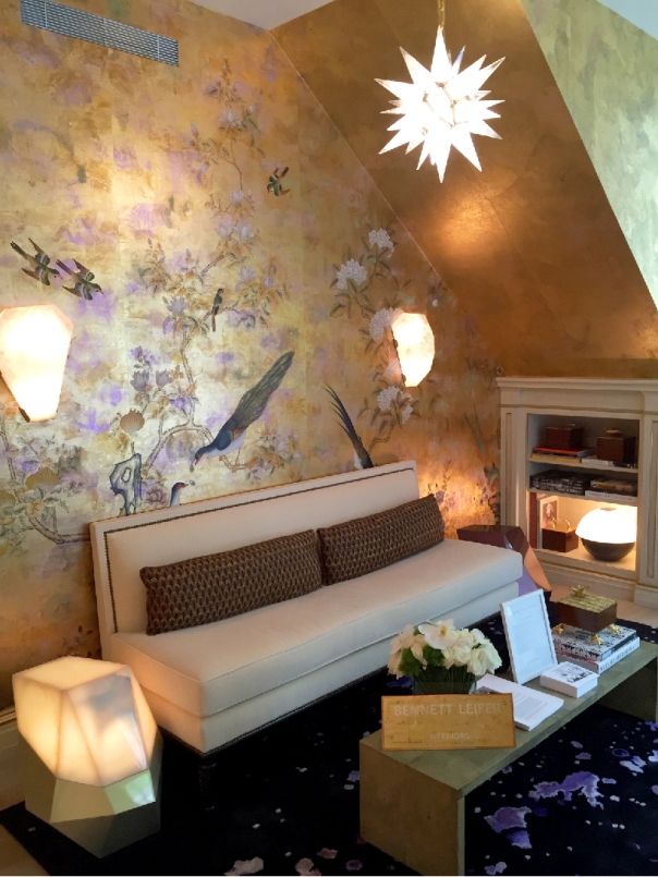 Kips Bay Decorator Show House 2015 - Gold hand-painted de Gournay wallpaper - Bennett Leifer