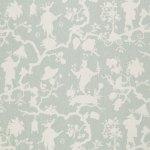 Schumacher Fabric - Shantung Silhouette Print Mineral