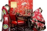 Costumes from The Met and red chinoiserie wallpaper - Design by Betsy Burnham