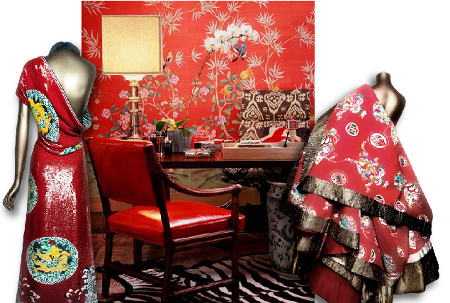 Tag Archives: Clarence House Wallpaper. Costumes From The Met And Red  Chinoiserie Wallpaper   Design By Betsy Burnham