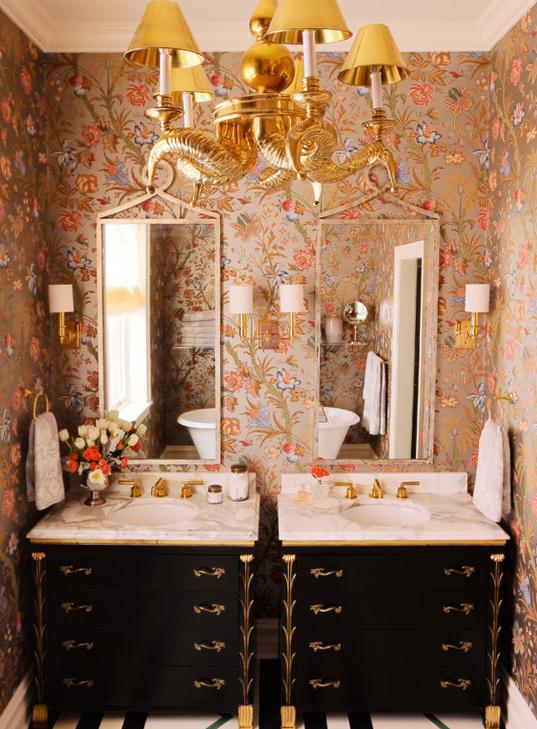 Metallic floral wallpaper by Summer Thornton Design