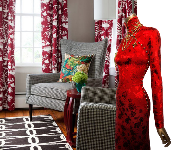 Red costume from The Met China Through the Looking Glass juxtaposed with red toile curtains and Chiang Mai Dragon throw pillow