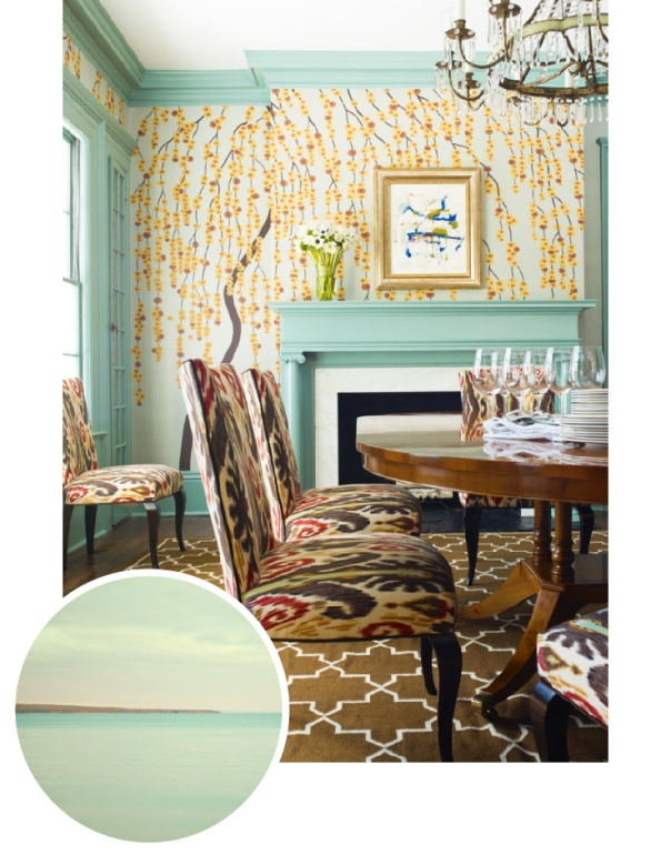 Turquoise dining room with ikat fabric and floral wallpaper via HGTV