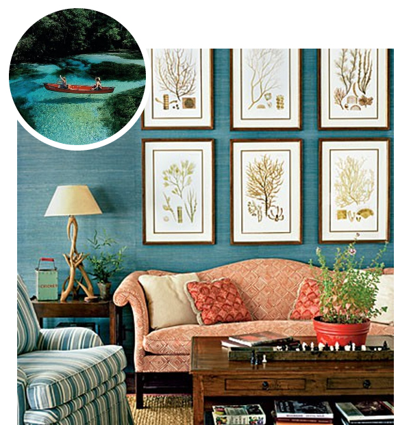 Turquoise grasscloth in lake house via Southern Living