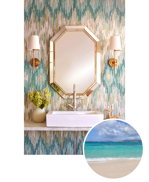 Aquamarine ikat powder room accent wall from Coastal Living