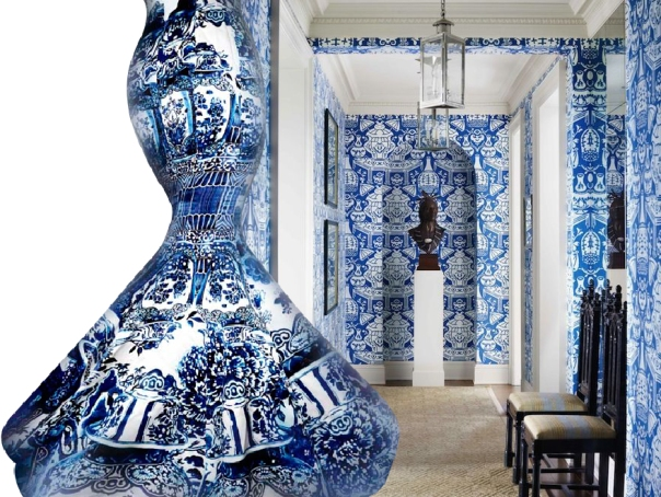 Blue and white costume from The Met - China Through the Looking Glass - and Clarence House The Vase wallpaper