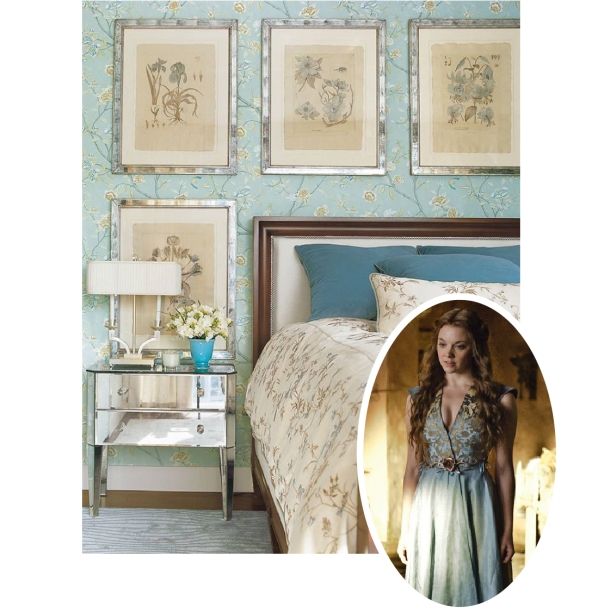 Inspired by Margaery Tyrell of Game of Thrones - Bedroom with blue and gold floral wallpaper and fabric
