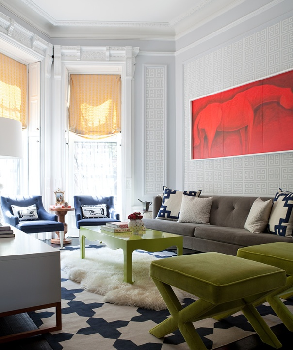 Park Slope brownstone with Greek key wallpaper by Brooklyn Home Co