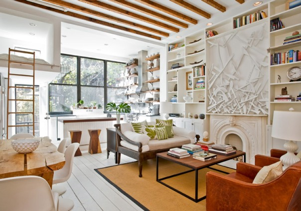 Rustic organic living room in Park Slope brownstone by The Brooklyn Home Co