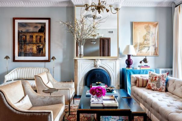 Brooklyn townhouse living room designed by McGrath II and featured in the New York Times