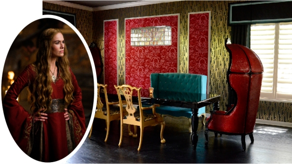 Inspired by Cersei Lannister of Game of Thrones - Bold red and gold dining room
