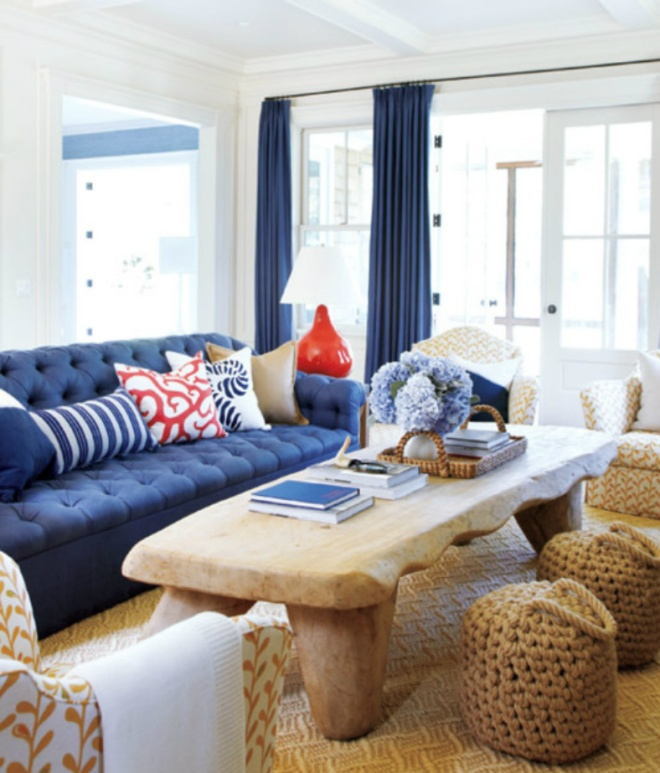 Coastal red white and blue beach living room via Domaine Home