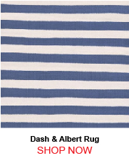 Dash & Albert Trimaran Stripe Denim Ivory Indoor Outdoor Rug 187296