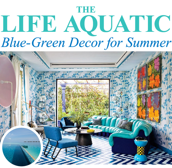 Blue-green graphic living room - summer decor