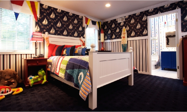 Red white and blue nautical kids room designed by Keith Baltimore photo by Pablo Corradi