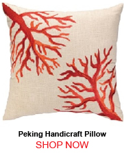 Peking Handicraft Coral Reef Embroidery Pillow Down Fill 176718