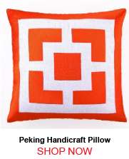 Peking Handicraft Palm Springs Block Embroidered Pillow Orange