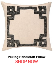 Peking Handicraft Skin Border Embroidered Pillow Black Down Fill 176287