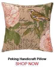 Peking Handicraft Song Bird Facing Left Embroidered Pillow Down Fill