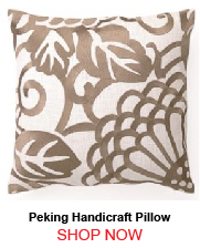 Peking Handicraft Taupe Chrysanthemum Linen Pillow 176638