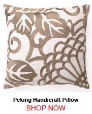 Peking Handicraft Taupe Chrysanthemum Linen Pillow 176638