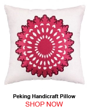 Peking Handicraft Wauwinet Berry Burgundy Embroidered Pillow Down Fill 176232