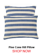 Pine Cone Hill Fresh American Trimaran Stripe Denim Ivory Indoor Outdoor Pillow 22x22