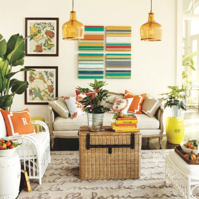 Rattan and wicker colorful living room
