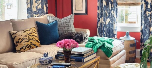 Eclectic red white and blue living room with animal print designed by Jamie Meares