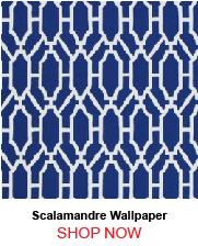 Scalamandre WP88325-002 Pavilion Trellis Indigo Wallpaper 171562