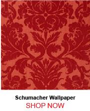 Schumacher Fiorella Damask Red Wallpaper 21186