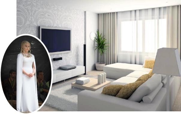 Inspired by Daenerys Targaryen of Game of Thrones - White modern living room