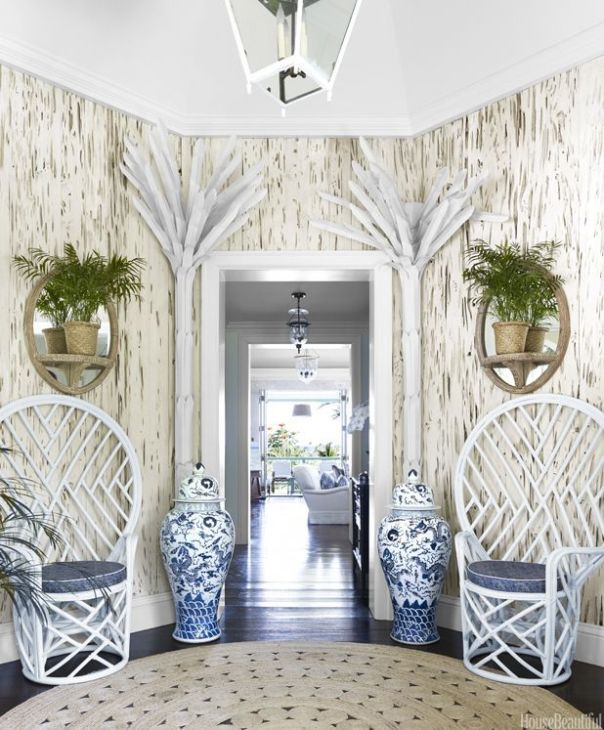 White rattan peacock chairs via House Beautiful