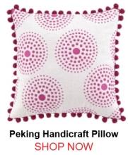 Peking Handicraft Antonia Embroidery Pillow Pom Pom Pink