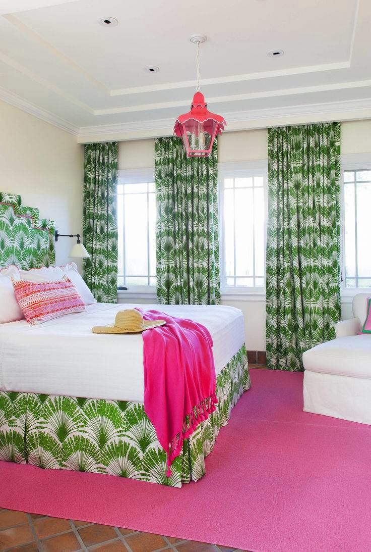 Pink And Green Preppy Tropical Bedroom Via Anne Hepfer