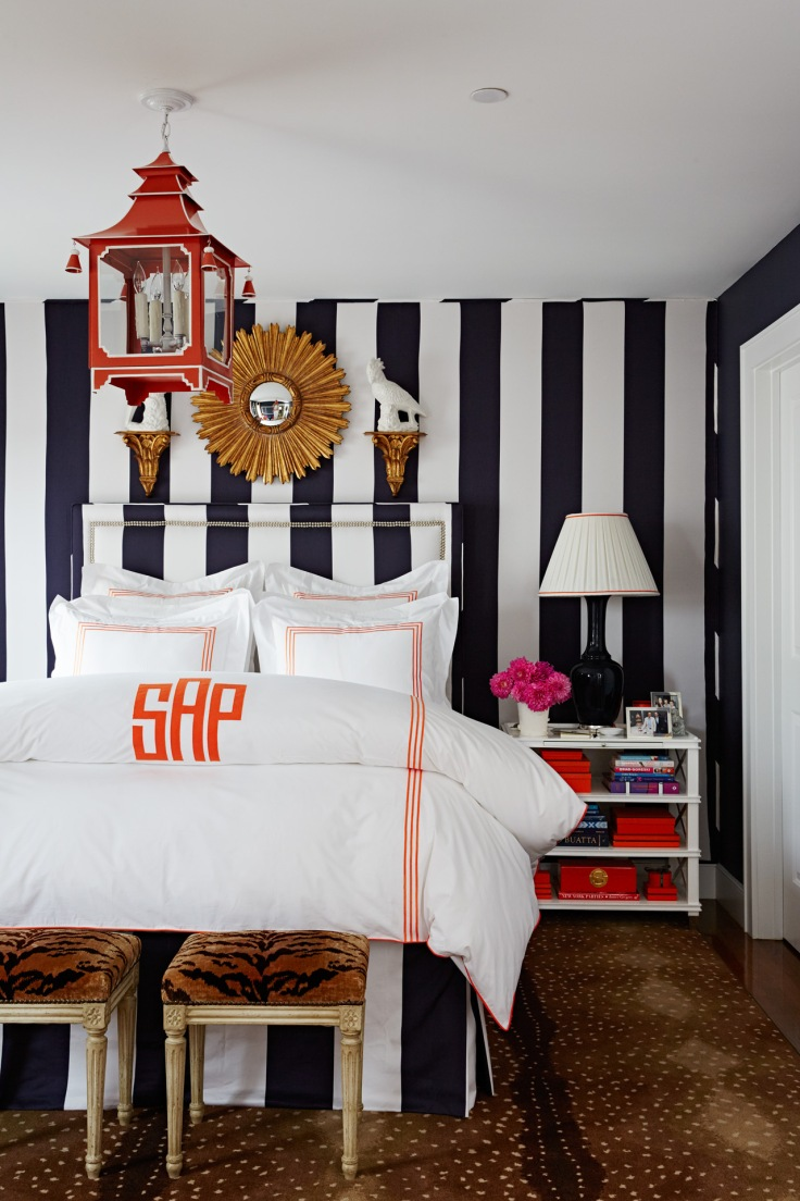 Striped eclectic preppy bedroom designed by Sam Allen